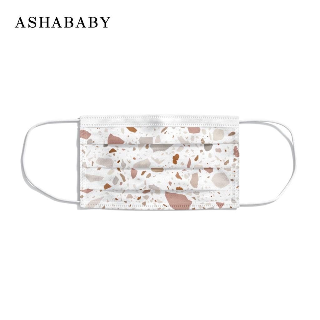 ASHABABY 台灣製|輕透型成人防塵口罩|白色磨石子10片入 (非醫療)