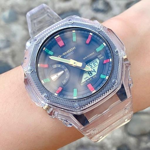 《SWAG史瓦客》台灣發貨 一體式透明冰川 G-SHOCK 改裝適用於GA2100 GA2110 錶殼 錶帶 卡西歐