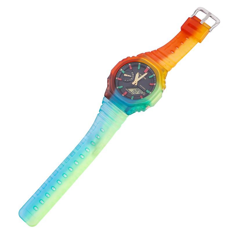 改裝配件卡西歐手表GA-2100 2110冰韌透明表帶表殼AP農家橡樹男