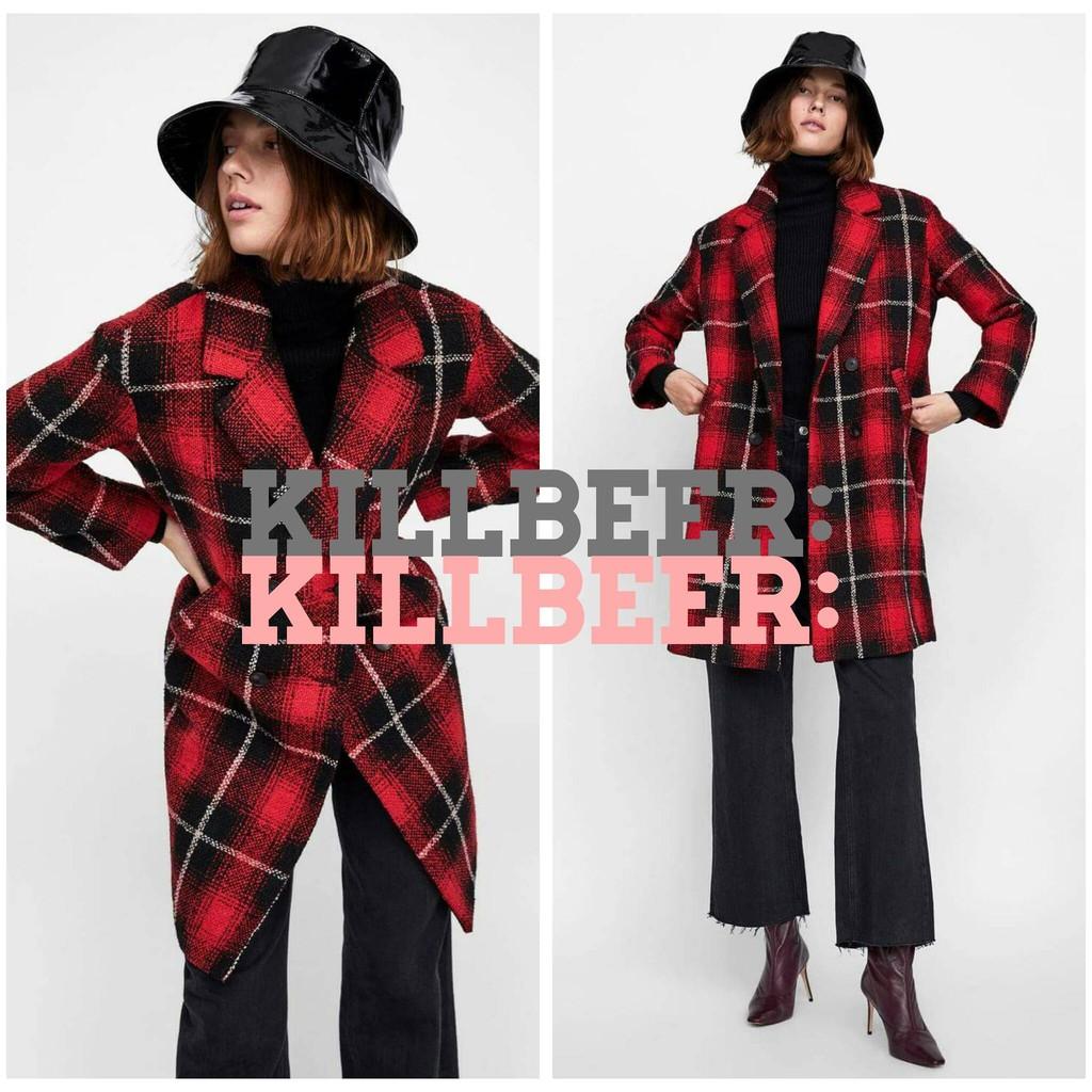 KillBeer:經典就是不會被換之 歐美復古英倫龐克搖滾紅黑撞色格紋西裝大翻領防風毛料外套長大衣zara
