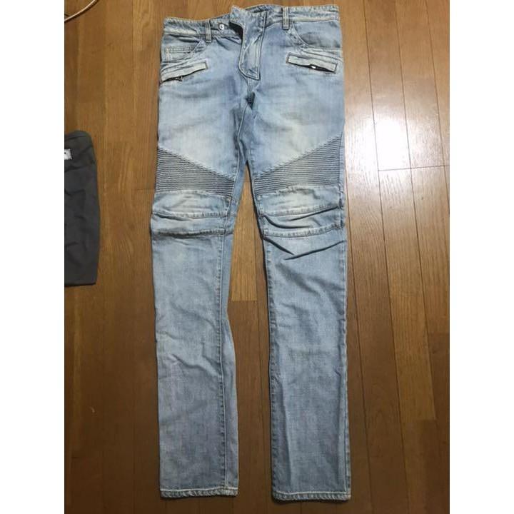 Balmain homme 藍色水洗機車牛仔褲