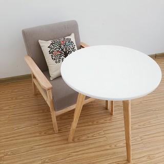 實木茶幾白色小圓桌簡約美式咖啡桌迷你北歐陽臺邊幾角幾休閑邊桌