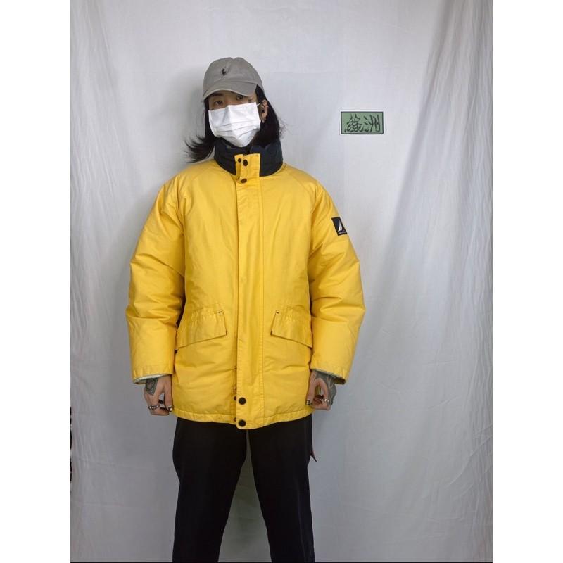 NAUTICA 諾帝卡 羽絨登山防寒保暖防潑水外套 蛋黃色 拉鏈口袋機能大衣外套L