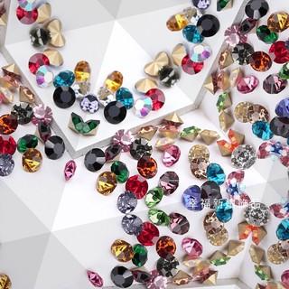 1.5~3.2mm diy飾品 閃亮尖底鑽 彩鑽  水鑽 皇冠項鍊耳環飾品 補鑽 美甲小鑽 裸鑽 玻璃鑽 高雄市