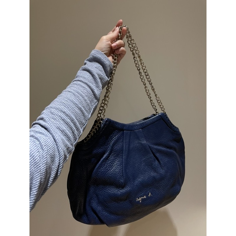 Agnes b. 肩背/手提/鏈帶/真皮包深藍寶藍色(價可議)