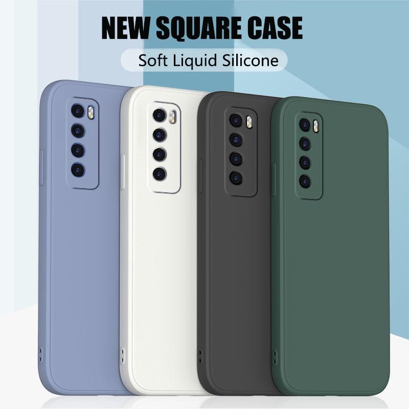 適用於華為 Nova 6 7i 4G 5G P40 Lite Mate 20 30 30E Pro 的直方形液體矽膠手機