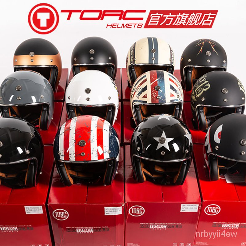 【熱賣 免運】TORC摩托車復古頭盔男女哈雷半盔機車夏季電動車安全帽3C認證頭灰-安全帽