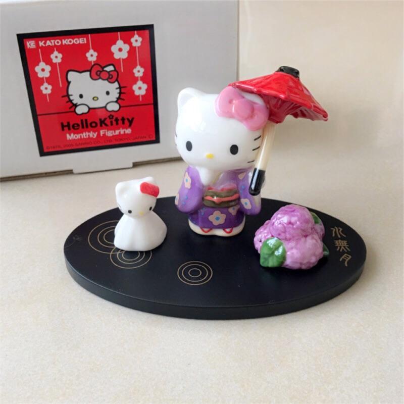 日本京都限定Hello Kitty水無月祈福晴天娃娃擺飾景品 陶瓷製