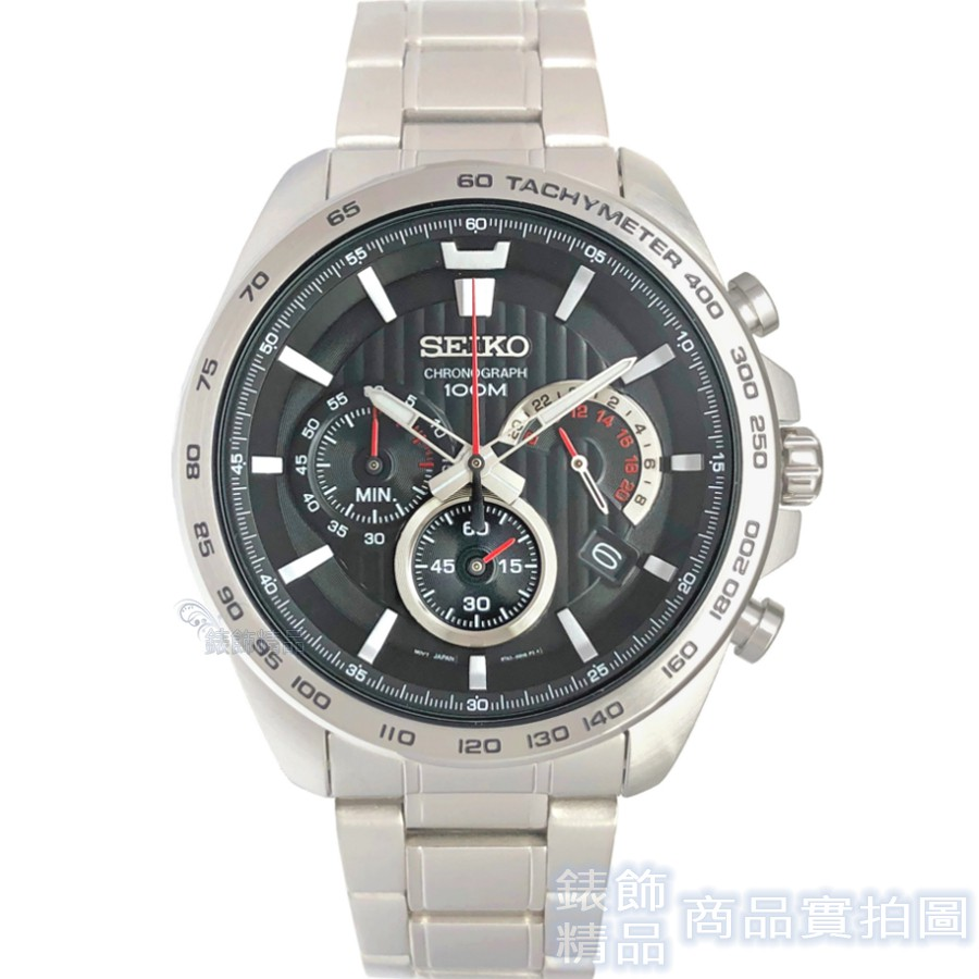 SEIKO 精工表 SSB299P1 黑面 三眼計時 日期 鋼帶 男錶