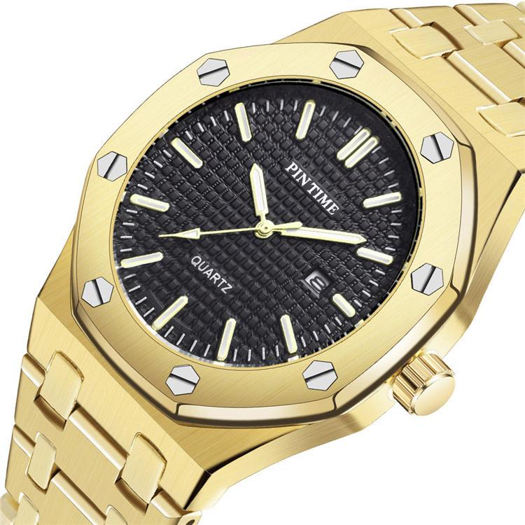 PINTIME皇家同款橡樹手錶奢侈風時尚男女錶八邊形復刻鋼帶合金錶