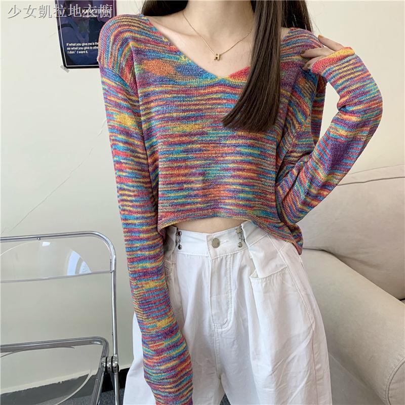 少女凱拉 2020秋季新款超火彩虹條甜美性感V領短款露臍長袖針織衫上衣女潮
