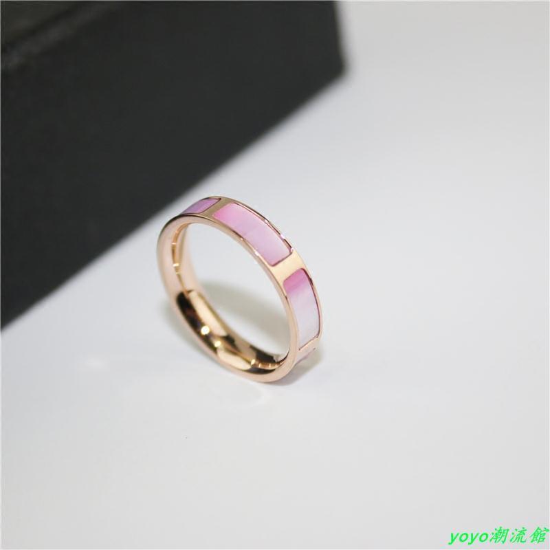【最熱銷】戒指女鍍18k玫瑰金彩金正品日韓版貝殼鈦鋼裝飾戒指食指時尚氣質yoyo潮流館