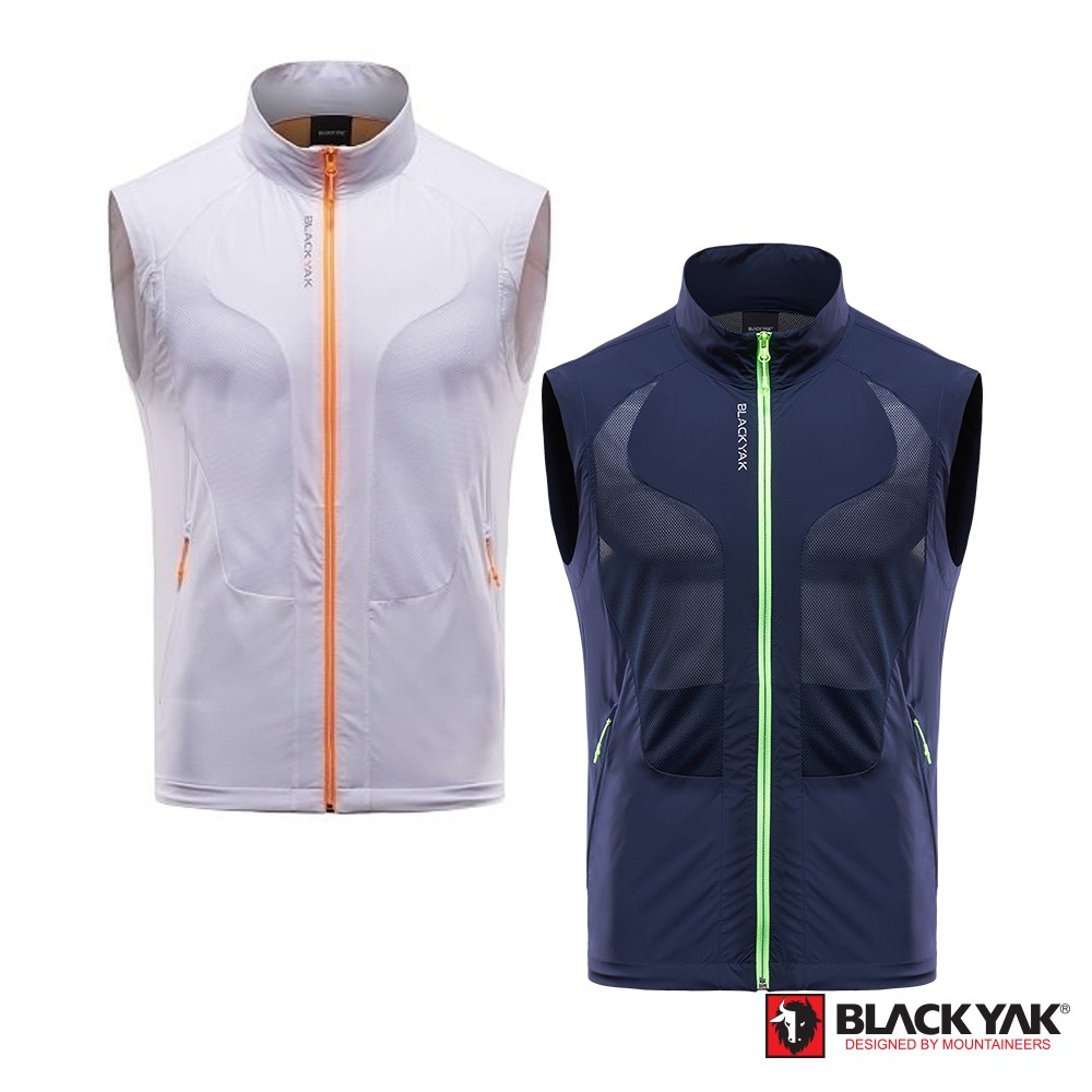 【BLACKYAK】男立領犛牛圖形透氣背心 [白色/海軍藍] 韓國春夏 透氣背心 背心 |BY171MV001