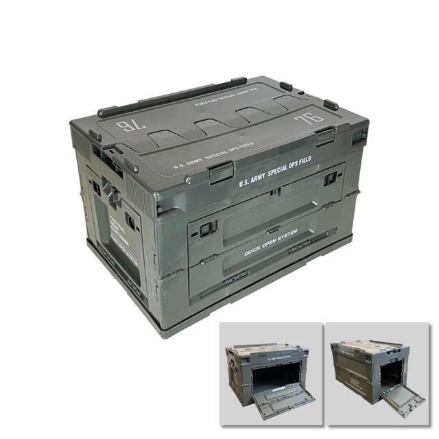 <<綠色工場台南館>> CampingBar 軍風軍綠色折疊箱 居家收納 側開箱 折疊收納箱 露營收納箱 收納櫃 摺疊