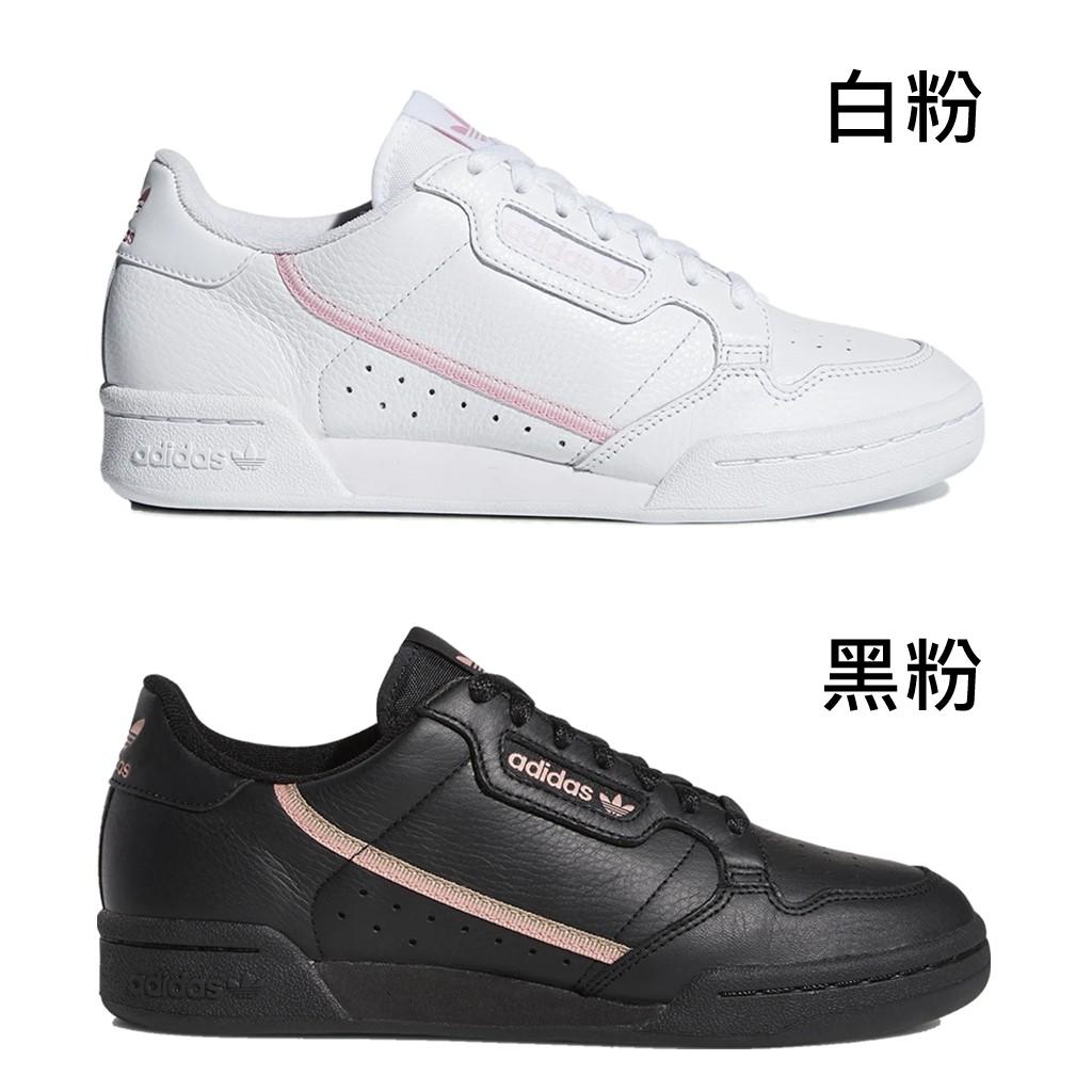 ADIDAS 女 W CONTINENTAL 80 WHITE BLACK PINK 白粉 黑粉【A-KAY0】