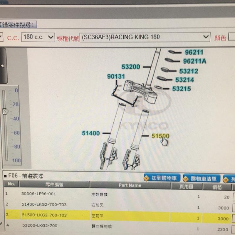 (光陽正廠零件)雷霆王 180 Racing King 180 前叉 前避震器 三角台 總成