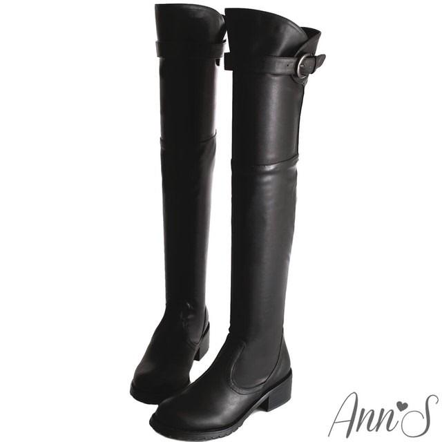 Ann'S貼腿版-美腿曲線花苞釦帶貼腿過膝靴-黑