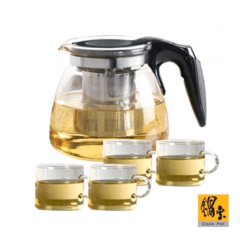鍋寶 耐熱玻璃花茶壺組 (1壺4杯)