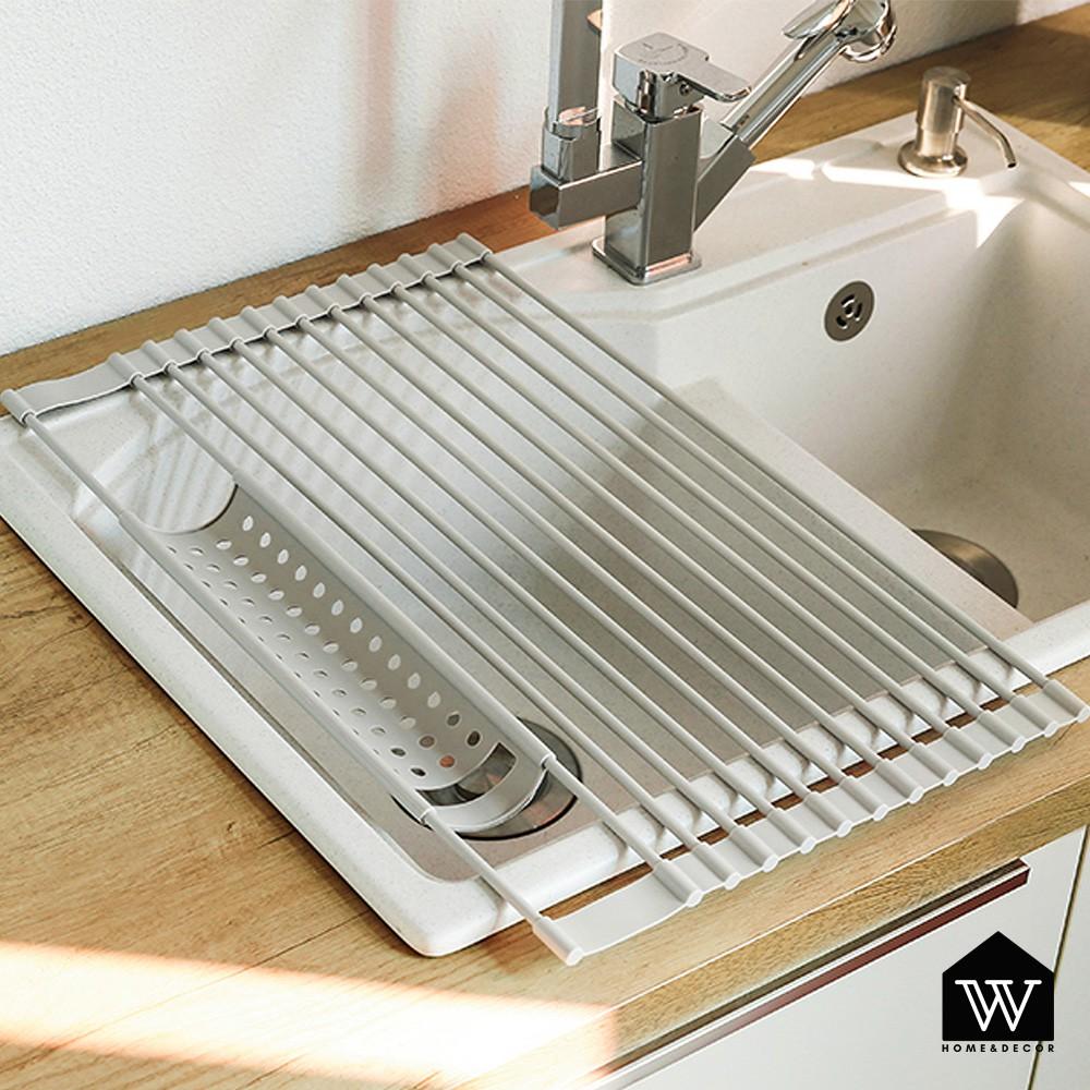 【好物良品】廚房水槽瀝水筷架 大號矽膠洗菜濾水碗盤鍋架 防滑耐承重 不鏽鋼置物架|可折疊 防水防燙鍋墊