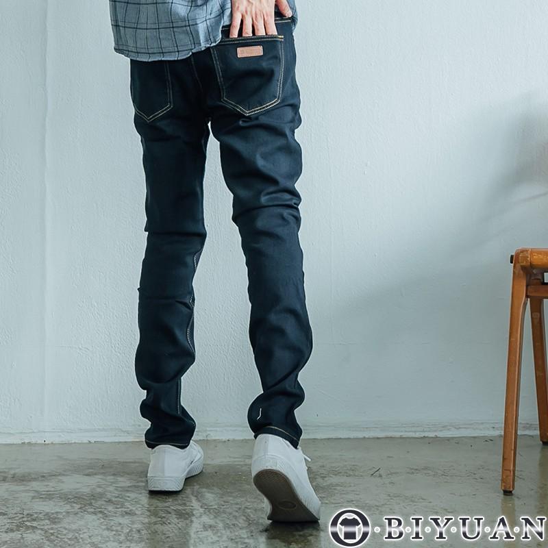 【OBIYUAN】刷毛牛仔褲 保暖 素面 彈性 丹寧 小皮標 長褲 共4色【HK3201】