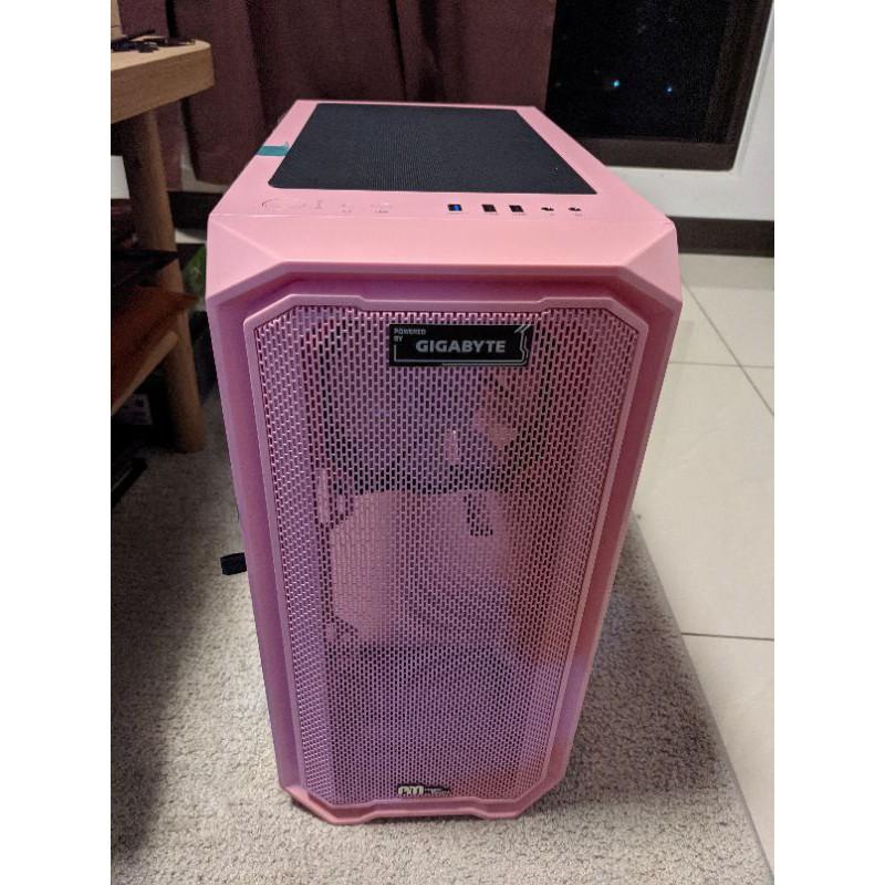 拆機品 亞碩 M2 電腦機殼 mATX 粉紅色