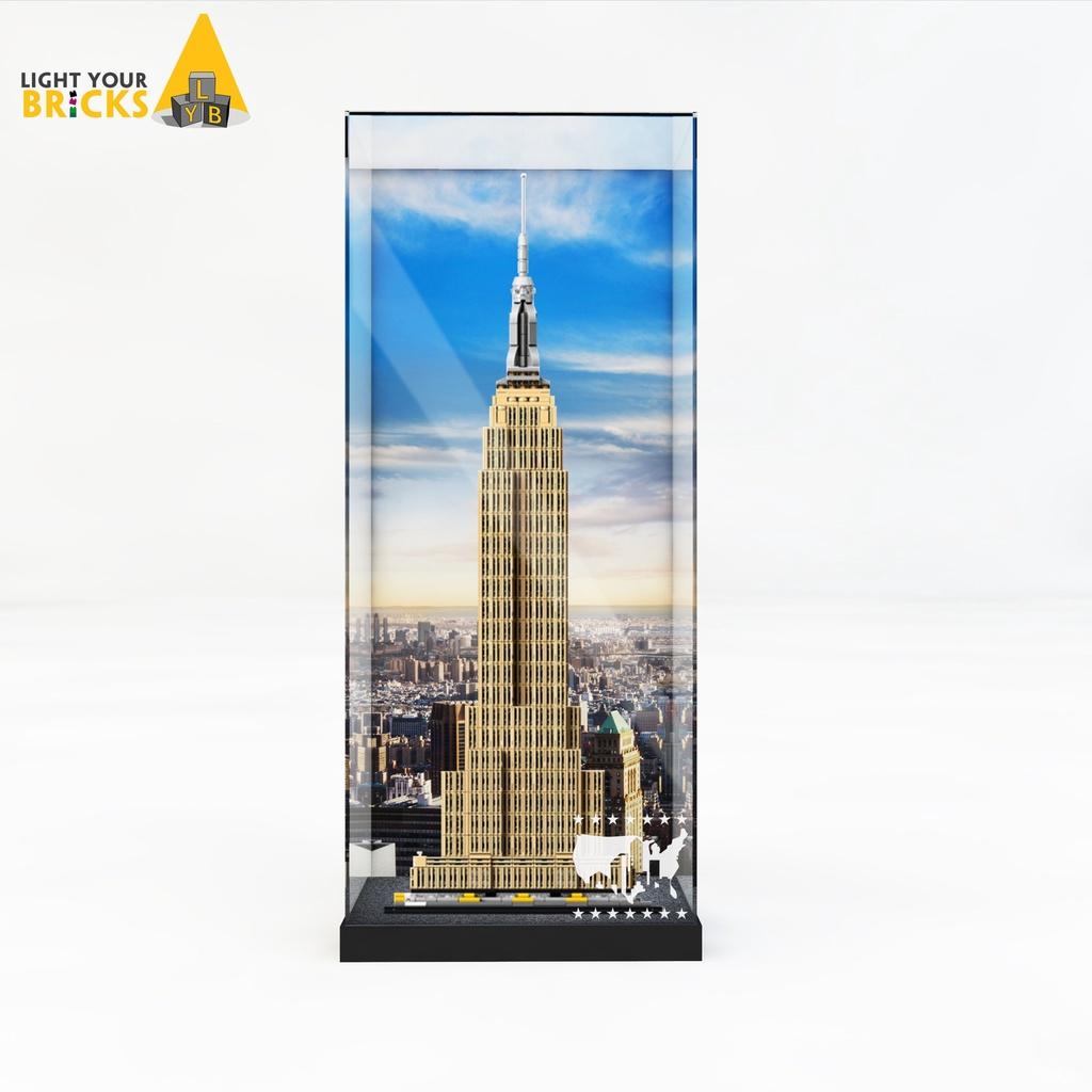 透明#收納盒#樂高帝國大廈展示盒 21046城市建築系列積木玩具防塵罩