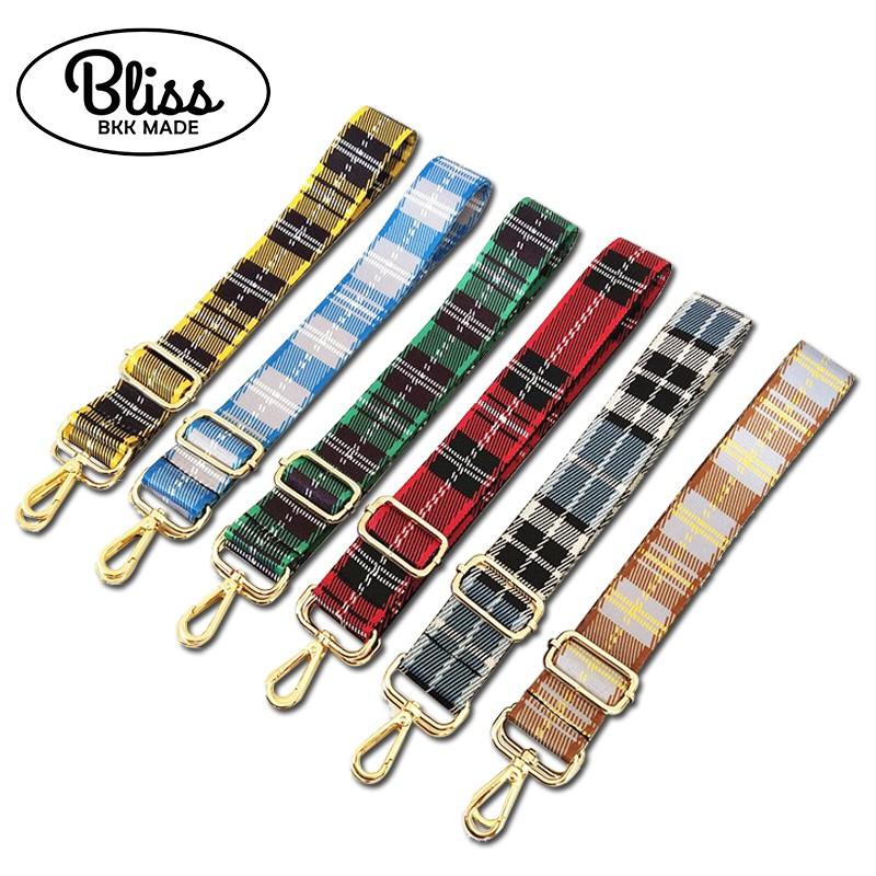 寬版尼龍格紋背帶 造型潮流斜背帶 包包背帶 可調長度 Bliss BKK