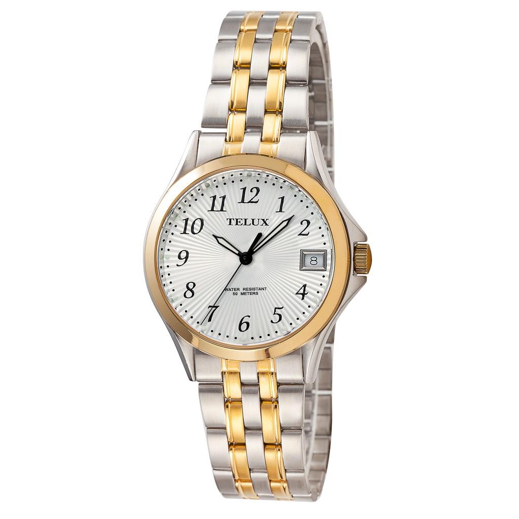 [缺貨中]台灣品牌手錶腕錶【TELUX鐵力士】經典紳士腕錶40MM台灣製造石英錶7006TG-W20中金黑數字-另有女款