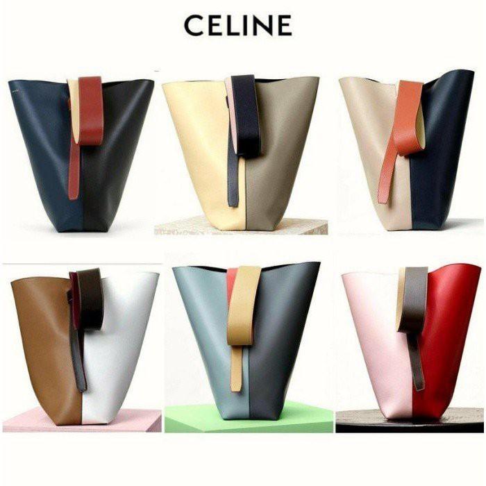 正品 Celine Twisted Cabas 拼色可調節 手提包 水桶包 肩背包 寬肩帶 現貨