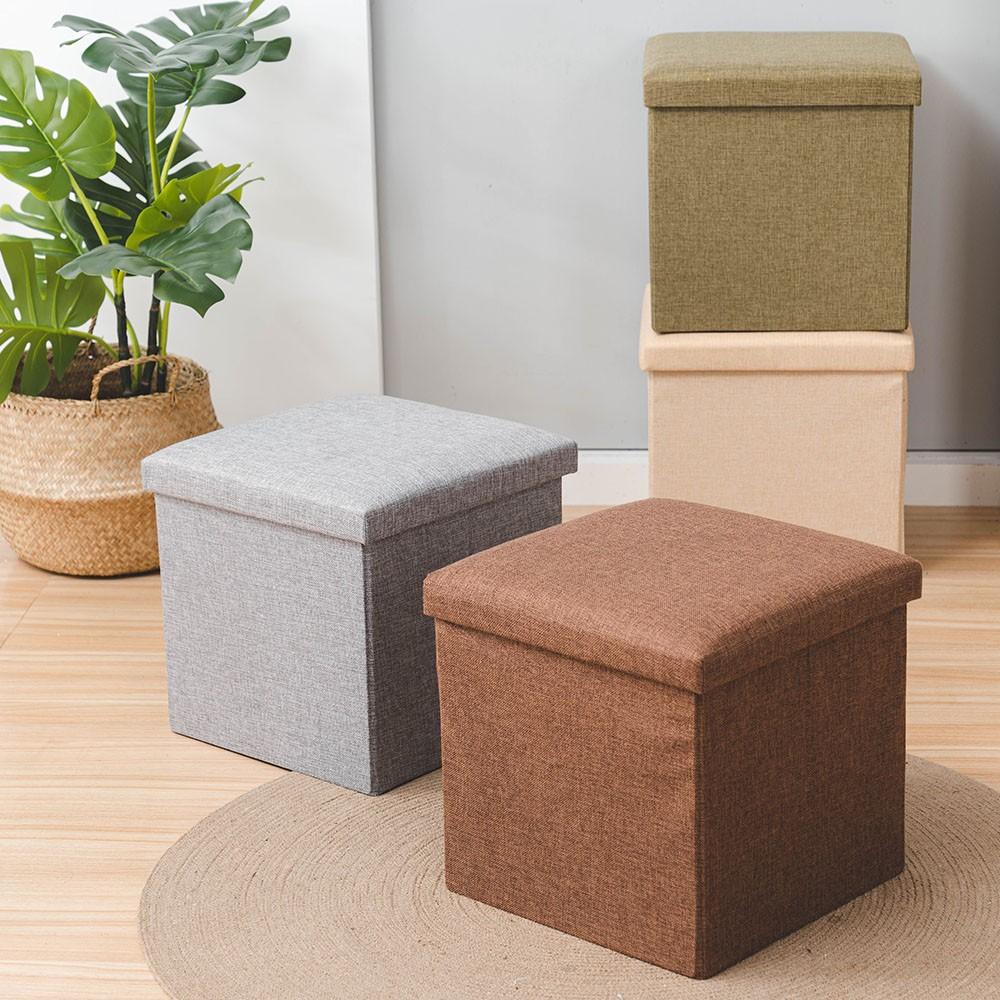 多功能亞麻儲物凳 25x25 / 40x25cm 椅子 沙發 折疊椅 收納箱 置物箱 折疊 客廳 玄關【CC-A033】