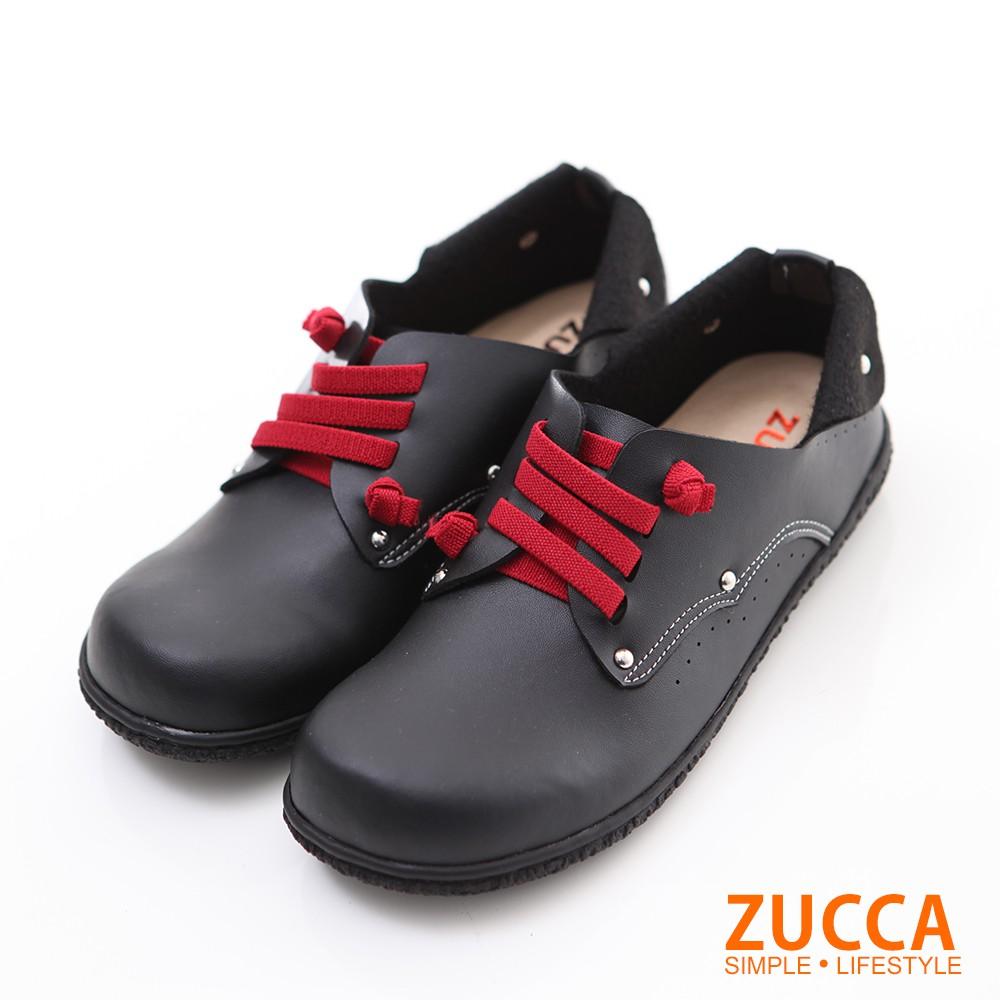 【ZUCCA】日系穿繩金屬圓點包鞋-z6004bk-黑