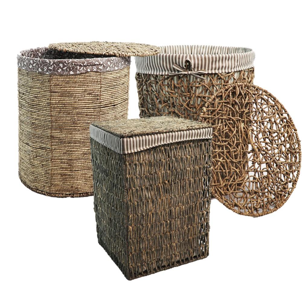 峇里島休閒風 鋼線結構手工天然柳編有蓋收納籃/洗衣籃(大材積不能超商取貨)
