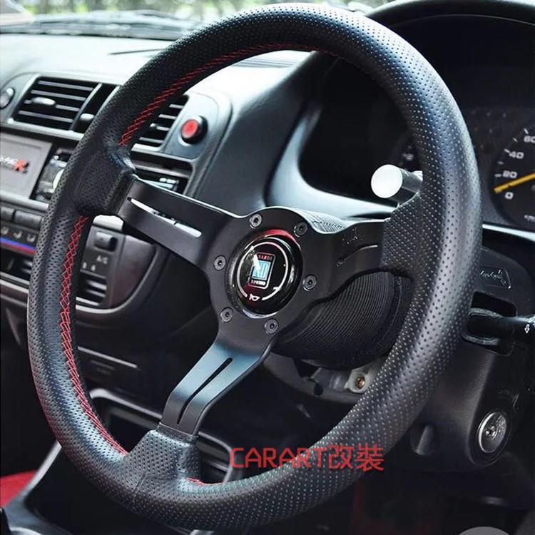 NADAI汽車改裝通用13吋小凹方向盤 適用寶獅 馬自達 K8 ND孔真皮紅線賽車方向盤