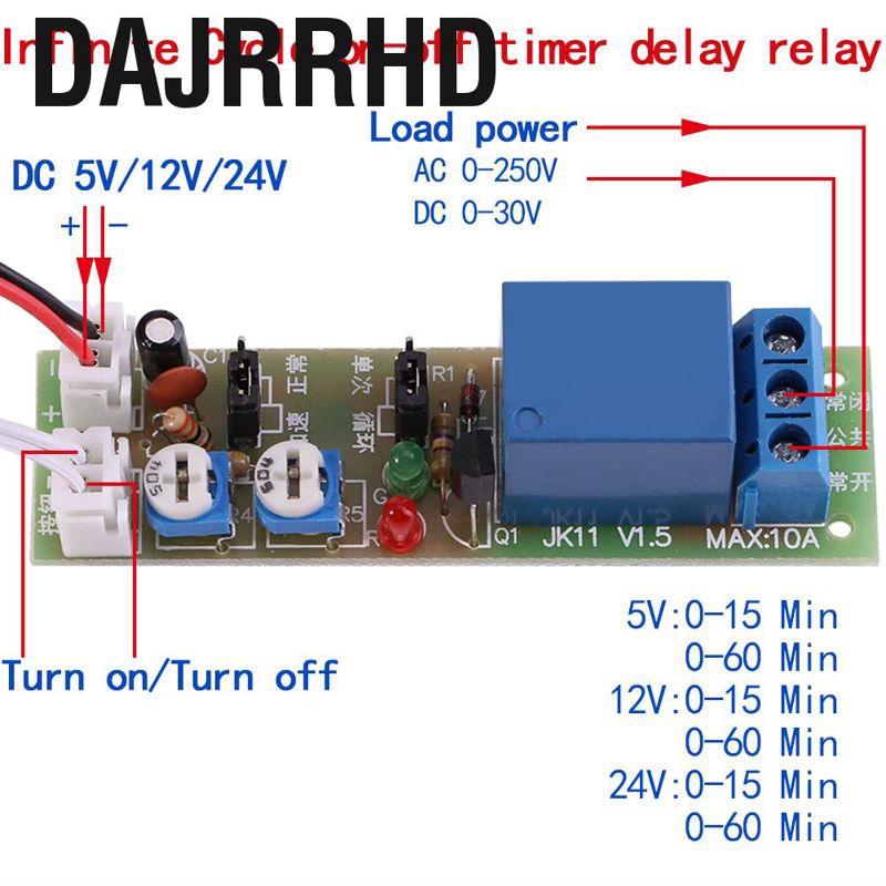 Dajrrhd DC 5V / 12V 24V無限循環開/關定時器延遲繼電器環路時序
