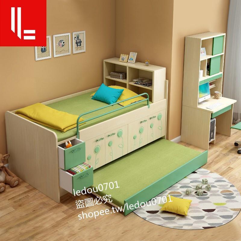 現貨兒童半高床多功能儲物單人床帶衣柜拖床小戶型省空間男女孩組合床