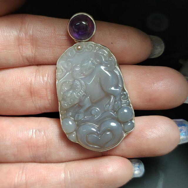 999純銀 設計製作 天然牛雕件 紫玉髓 紫水晶 純銀墬子