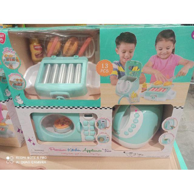 全新 小廚師烹飪電器組 playgo小廚房電器組 好市多 仿真廚房 仿真小家電 微波爐 氣炸鍋 好市多廚房玩具組