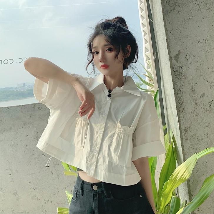 Polo衫 短袖襯衣 短版上衣 褶皺襯衫 韓版洋氣 素色 Polo領 寬鬆 褶皺 開衫 短袖 襯衫 女生 衣著