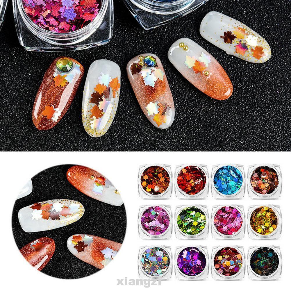 12 種顏色 / 套裝飾楓葉亮片迷你藝術閃亮 Diy 指甲閃光