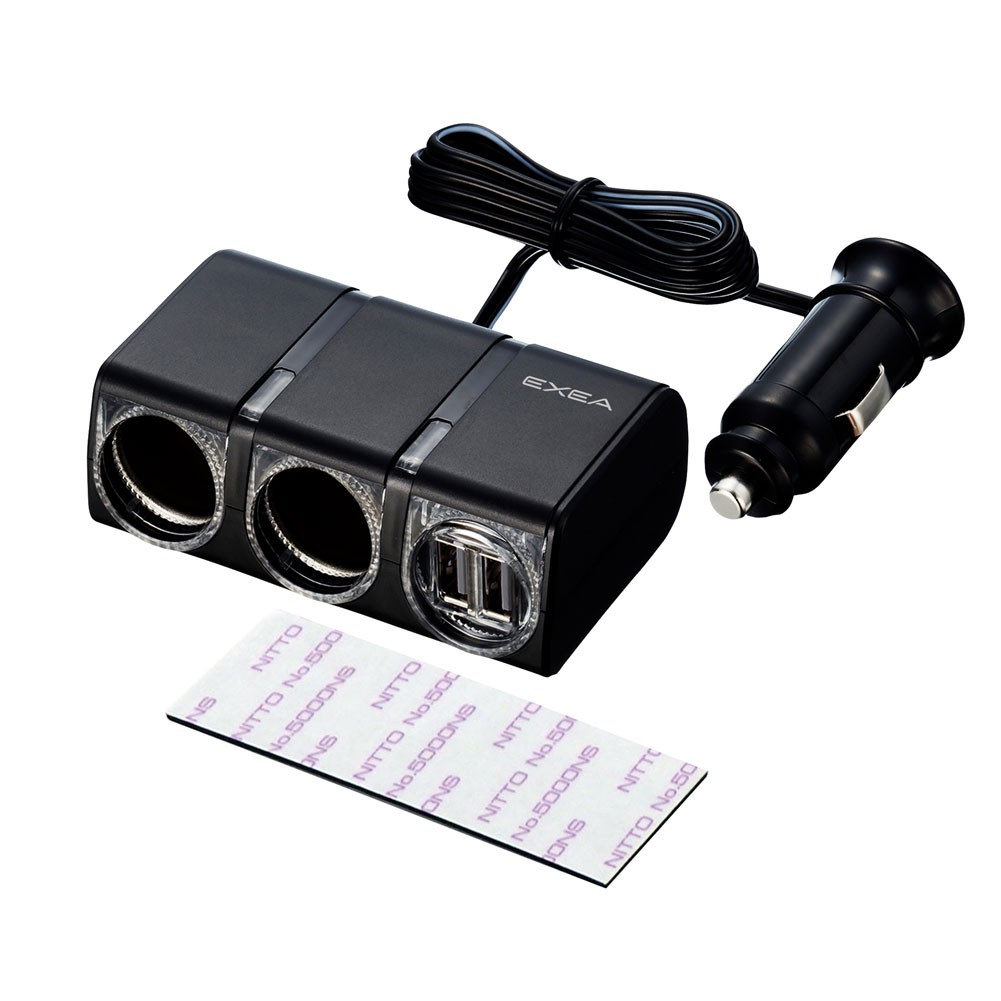 車之嚴選 cars_go 汽車用品【EM-152】2.4A雙USB+雙孔黏貼式 延長線式點煙器電源插座 12/24V車用