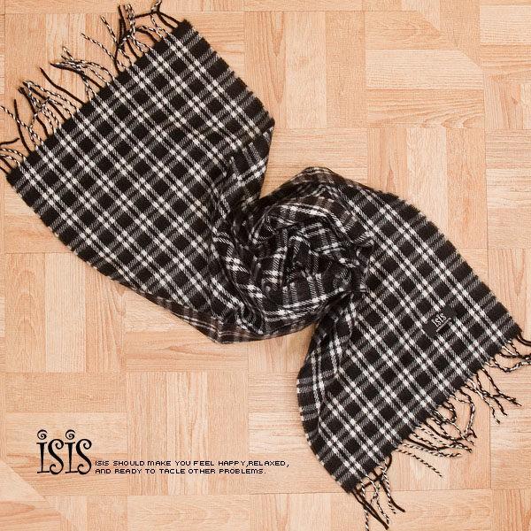 KURO-SHOP秋冬新品 韓國進口 藍黑色彷羊毛觸感格子圍巾