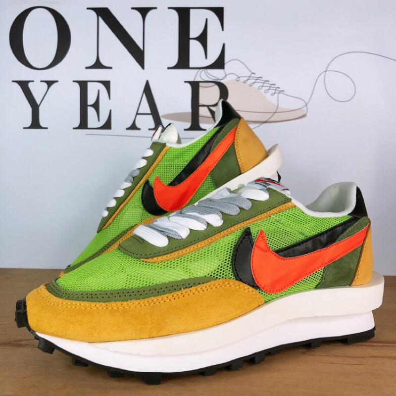 ONE YEAR_ Sacai x Nike LDV Waffle 聯名 解构 網面 透氣 綠 黃 BV0073-300