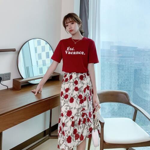裙裝 上衣 半身裙 S-XL新款網紅泫雅風小清新甜美裙子顯瘦t卹半身裙套裝H325-9071.胖胖美依
