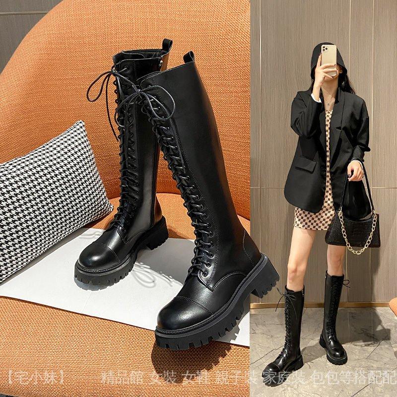 新款厚底騎士靴女長靴英倫風大頭高筒靴不過膝系帶長筒靴 A0wp