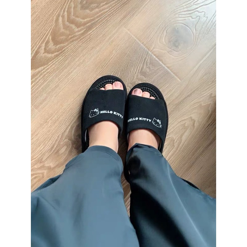 日本hello Kitty按摩拖鞋 健康拖鞋 黑色 很舒服 寵愛家人