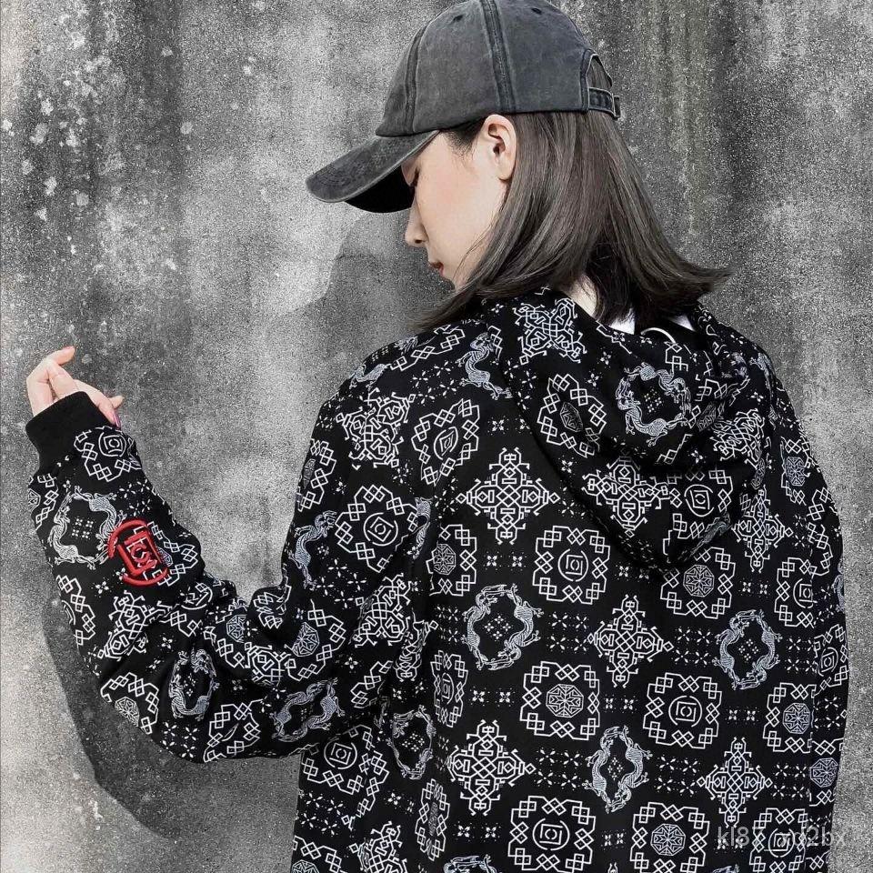 m2Bg 新品陳冠希CLOT聯名同款絲綢夾克滿印銀線圖騰中國風男女情侶外套