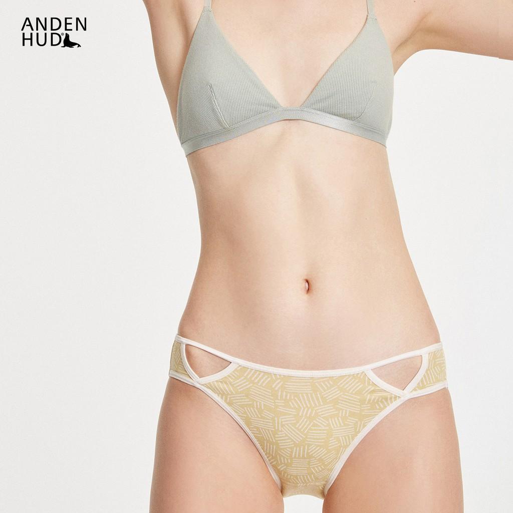 【Anden Hud】變形記.前挖洞中腰三角內褲(嫩黃-斑馬線) 台灣製