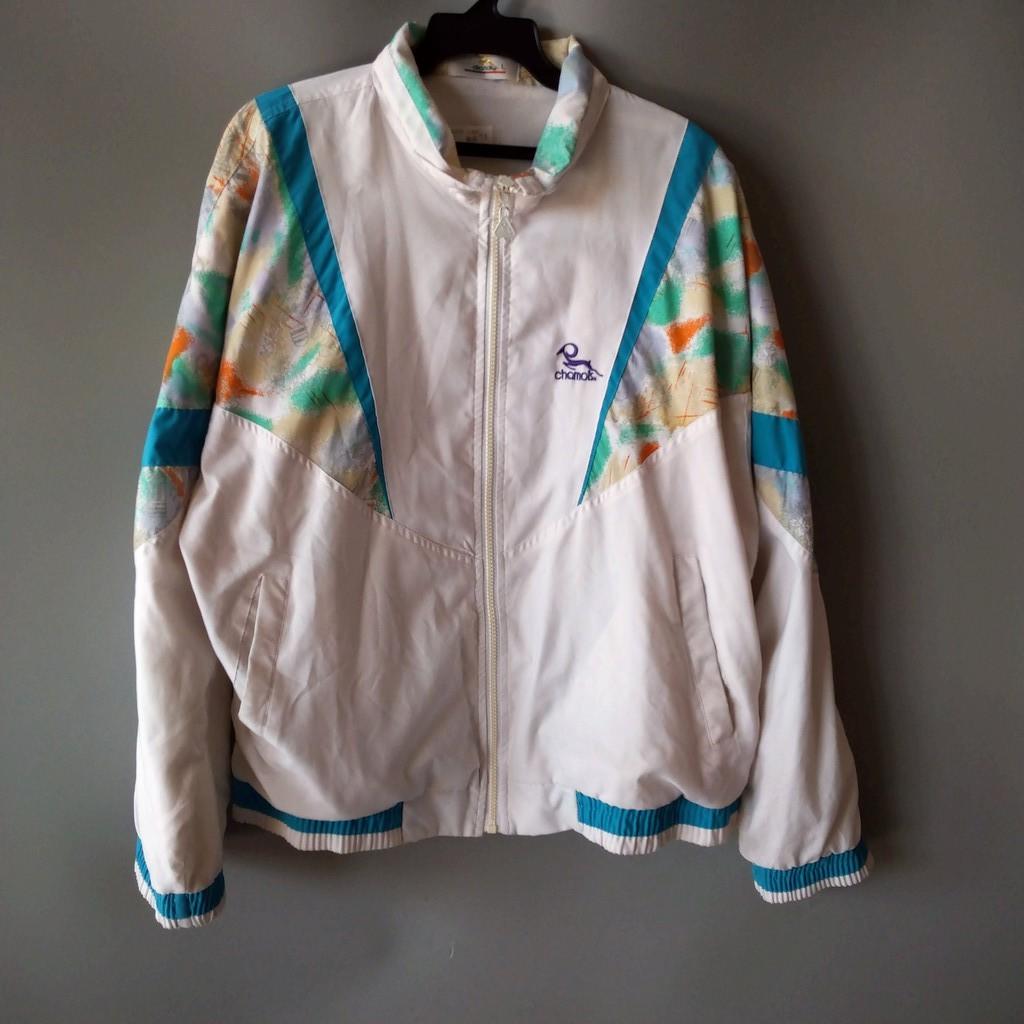 201001品牌chamois白色拼接粉藍綠暈染內裡薄刷毛外套L