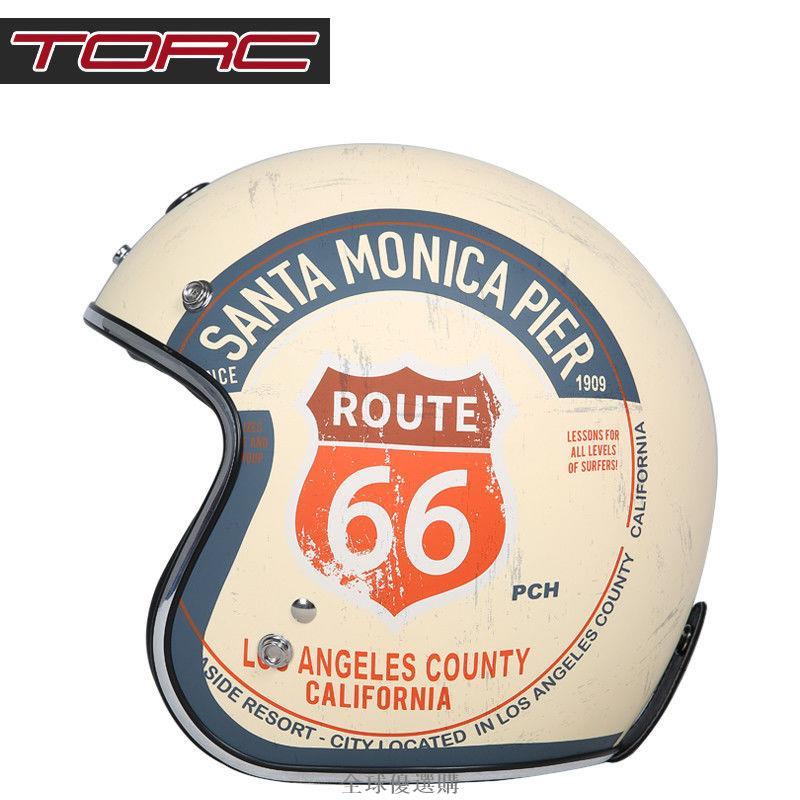 TORC摩托車復古頭盔男女哈雷半盔機車夏季電動車安全帽3C認證頭灰