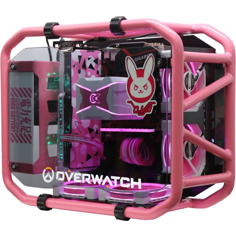 【紅人館】電腦主機殼 電腦機箱 粉色少女臺式機 個性diy主機殼 創意  動漫主題主機殼  水冷 炫酷 客製化電腦機箱